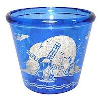 Hazel Atlas Ritz Blue Windmill Glass Ice Pail Tub