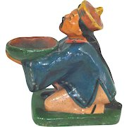 Antique Majolica China Man Figural Incense Burner Figurine
