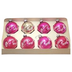 Box Shiny Brite Silent Night Song Stenciled Christmas Ornaments