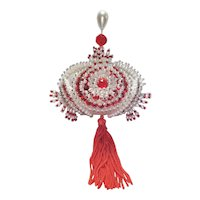 Elaborate Pearl Beaded Red Sequined Christmas Ornament