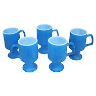 Fired On Blue Milk Glass Pedestal Mugs Set of 5