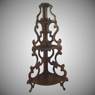 Wooden Fretwork 3 Level Curio Corner Wall Shelf