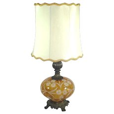 Enameled Daisies Mid Century Glass Table Lamp