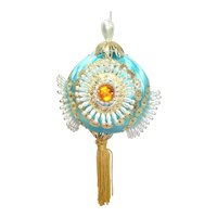 Pin Beaded Jeweled Christmas Ornament in Blue Gold Pearly White