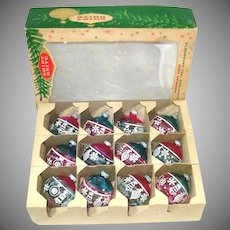 Box Shiny Brite Unsilvered Stenciled Glass Christmas War Ornaments