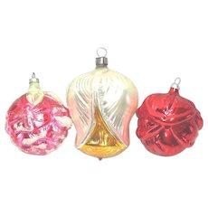 3 Glass Flower Bud Christmas Ornaments West Germany