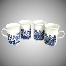 Churchill England Blue Willow Set 4 Coffee Mugs