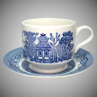 Churchill Blue Willow Cup and Saucer Set