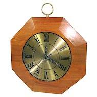 Mid Century United Wood Brass Octagonal Wall Clock
