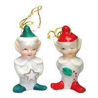 Ceramic Elf Pair 1950s Christmas Bell Ornaments