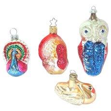 West Germany Glass Bird Ornaments Owl Turkey Peacock Swan