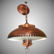 1960s Early American Style Copper Glass Hanging Light Fixture Lamp