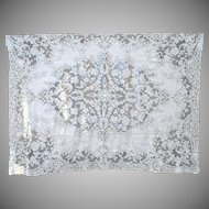 Ecru Quaker Lace Floral Tablecloth 88 by 65 Inches