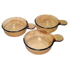 3 Corning Ware Visions Grab-It Bowls With Plastic Lids