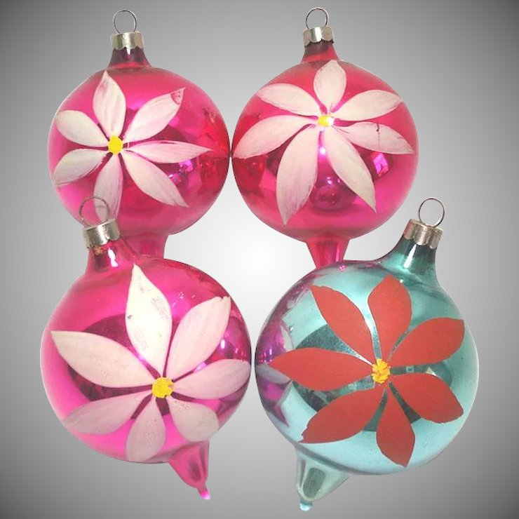 1930s usa blown glass christmas ornaments painted flowers - Blown Glass Christmas Ornaments