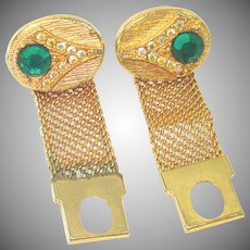 Green Rhinestone Goldtone Mesh Wrap Around Cufflinks