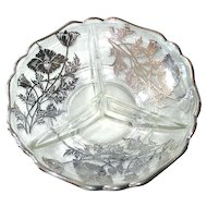 Silver City Sterling Overlay Cambridge Poppy Divided Crystal Dish