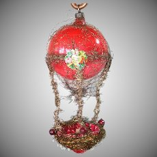 Victorian Wired Tinsel Glass Hot Air Balloon Christmas Ornament