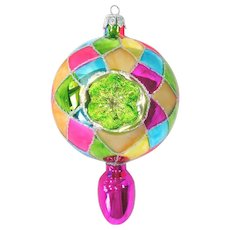 Poland Colorful Harlequin Double Indent Glass Christmas Ornament