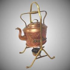 Antique German Jugendstil Copper Spirit Kettle
