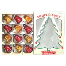 Box Shiny Brite Red Gold Glass Bells Christmas Ornaments