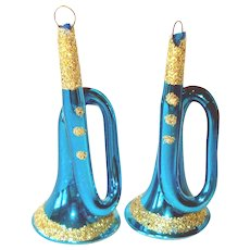 Glittered Blue French Horns Glass Christmas Ornaments