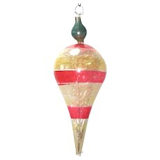 Victorian Antique Drop Christmas Ornament With Tinsel