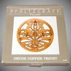 Pfaltzgraff Village Copper Flower Trivet Mint in Box