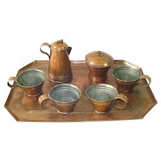 Antique Copper Childs Play Tea Set