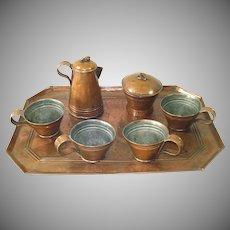 Antique Copper Childs Play Tea Set