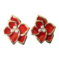 Red Enamel Flower With Rhinestones Clip Earrings