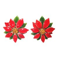 Enameled Red Poinsettia Rhinestone Christmas Clip Earrings