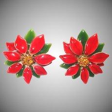 Enameled Red Poinsettia Rhinestone Christmas Clip Earrings