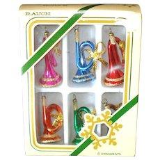 Box Miniature Blown Glass Horns Christmas Ornaments