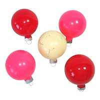 5 Shiny Brite Unsilvered Opaque Glass Christmas Ornaments WWII