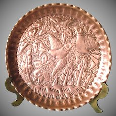 Persian Repousse Copper Plate Birds, Flowers