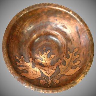 Arts Crafts Style Copper Bowl Etched Acorns Oak Leaves