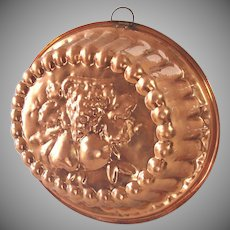 Large 3 Quart Oval Copper Mold Embossed Fruit