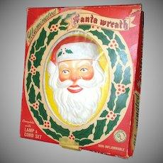 Glolite 1950s Lighted Christmas Illuminated Santa Wreath