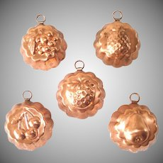 Copper Miniature Candy or Tart Molds, Set of 5