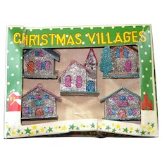Box 1950s Miniature Mica Encrusted Christmas Putz Village Ornaments