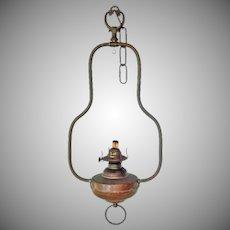 Antique Hanging Copper Oil Kerosene Lamp Frame Eagle Burner