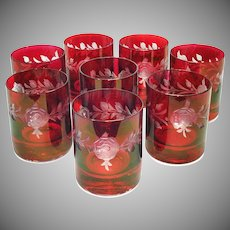 8 Ruby Cut To Clear On The Rocks Tumblers