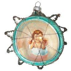 Scrap Angel Glass Diorama Christmas Ornament in Tinsel Star