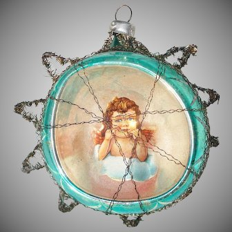Scrap Angel Glass Diorama Christmas Ornament in Tinsel Star