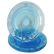 Firna Fleur De Lis Blue Glass Dinner Plates Set 4