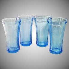 4 Blue Indiana Recollection Madrid Glass Tumblers