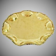 Brass Ruffled Bubble Footed Centerpiece Bowl Signed A. Lara