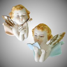 Napco Pair Bisque Cherubs Angels Wall Plaque Figurines