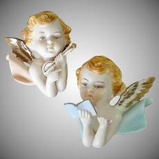 Napco Pair Bisque Cherubs Angels Wall Plaque Figurines